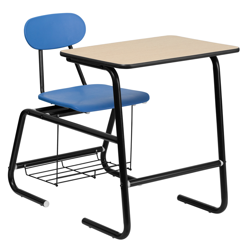 Hercules Series Black Frame Student Combo Desk With Blue