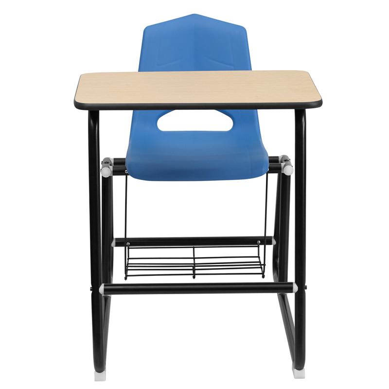 Hercules Series Black Frame Student Sled Based Combo Desk