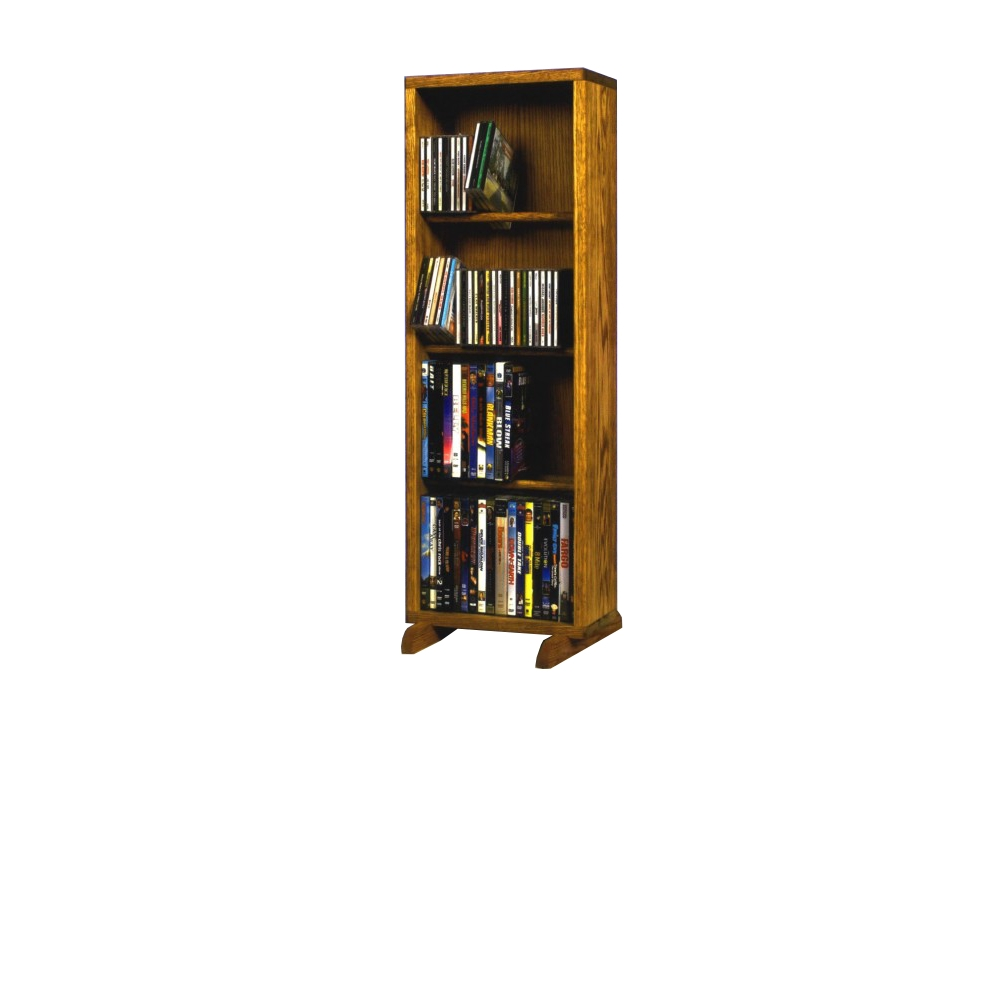 Solid Oak 4 Row Dowel DVD Cabinet Tower. Picture 1