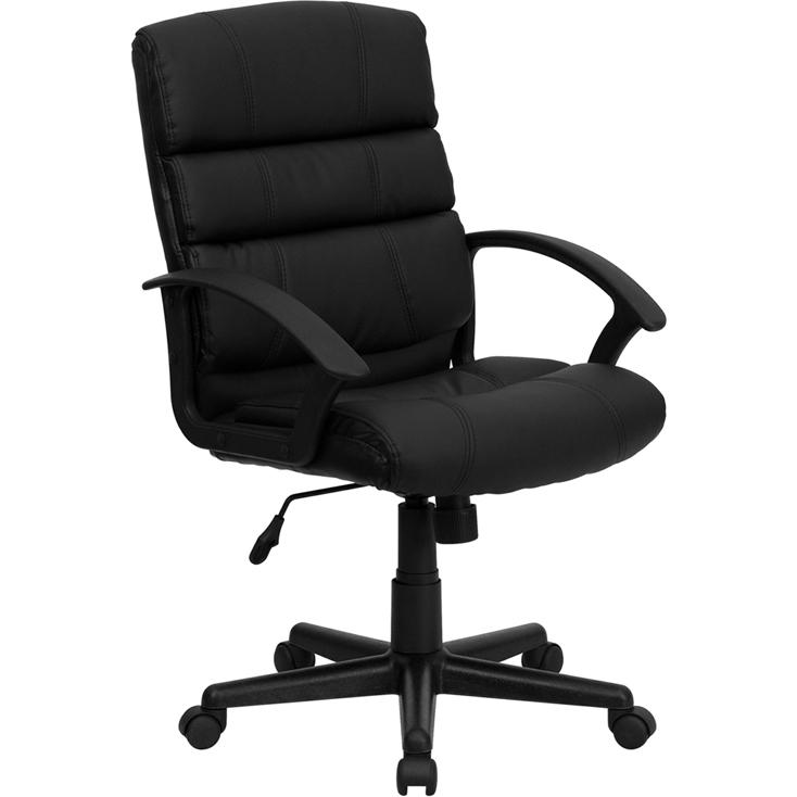 Mid-Back Black LeatherSoft Swivel Task Office Chair with Arms. Picture 1