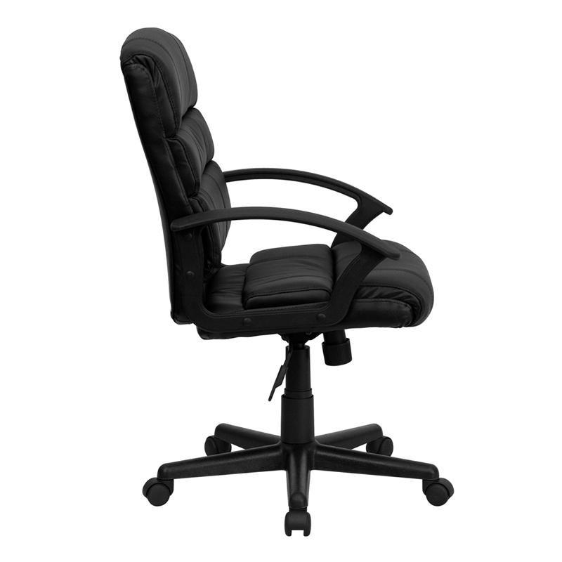 Mid-Back Black LeatherSoft Swivel Task Office Chair with Arms. Picture 2