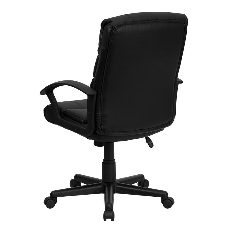 Mid-Back Black LeatherSoft Swivel Task Office Chair with Arms. Picture 3