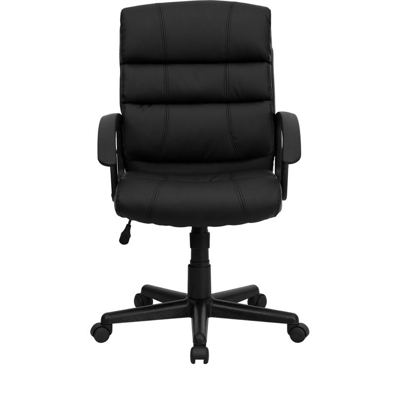 Mid-Back Black LeatherSoft Swivel Task Office Chair with Arms. Picture 4