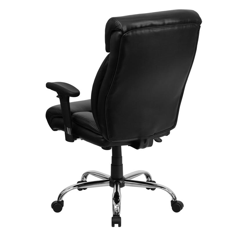Black Leather Executive Ergonomic Office Chair With Full