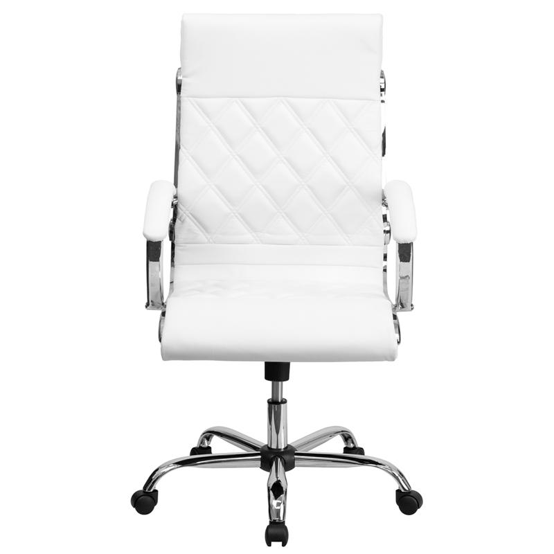 Charming High Back Designer White Leather Executive Swivel Chair With Chrome Base  And Arms