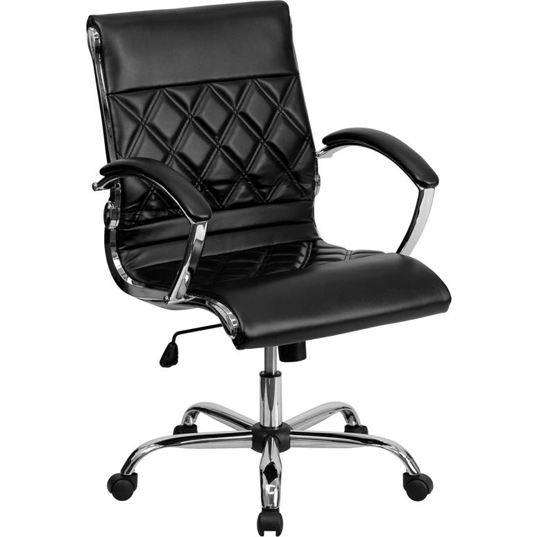 Mid-Back Designer Black Leather Executive Swivel Office Chair with