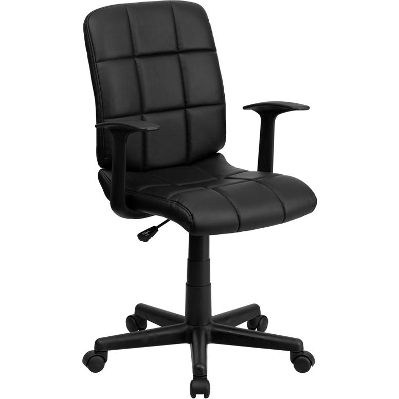 Mid Back Black Quilted Vinyl Swivel Task Chair With Arms
