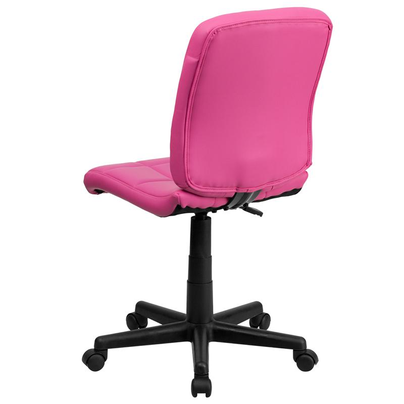 Mid-Back Pink Quilted Vinyl Swivel Task Office Chair