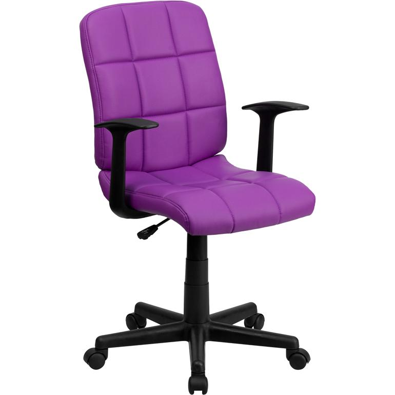 Mid Back Purple Quilted Vinyl Swivel Task Chair With Arms