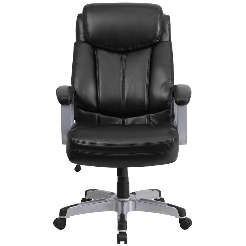 HERCULES Series Big & Tall 500 lb. Rated Black LeatherSoft Executive Swivel Ergonomic Office Chair with Arms. Picture 4