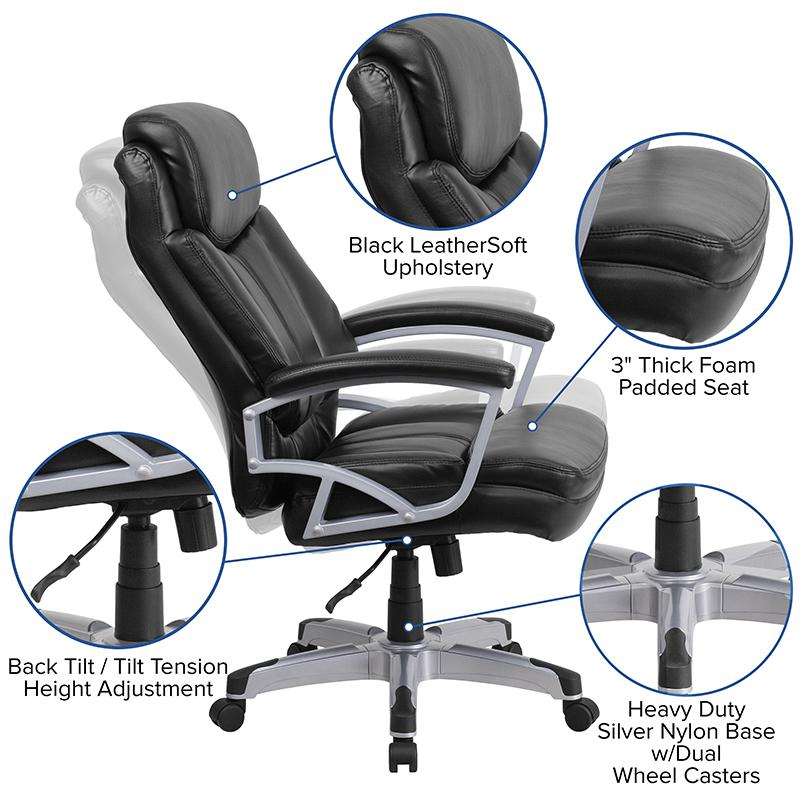 HERCULES Series Big & Tall 500 lb. Rated Black LeatherSoft Executive Swivel Ergonomic Office Chair with Arms. Picture 5