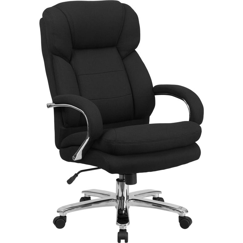 HERCULES Series 24/7 Intensive Use Big & Tall 500 lb. Rated Black Fabric Executive Ergonomic Office Chair with Loop Arms. Picture 1