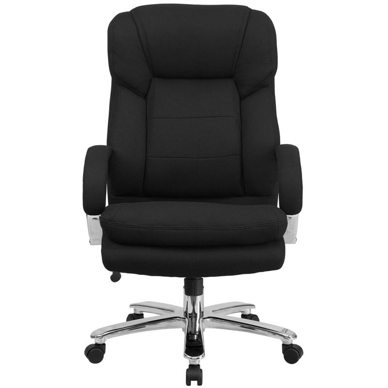 HERCULES Series 24/7 Intensive Use Big & Tall 500 lb. Rated Black Fabric Executive Ergonomic Office Chair with Loop Arms. Picture 4