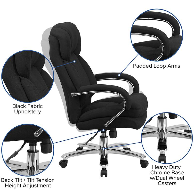 HERCULES Series 24/7 Intensive Use Big & Tall 500 lb. Rated Black Fabric Executive Ergonomic Office Chair with Loop Arms. Picture 5