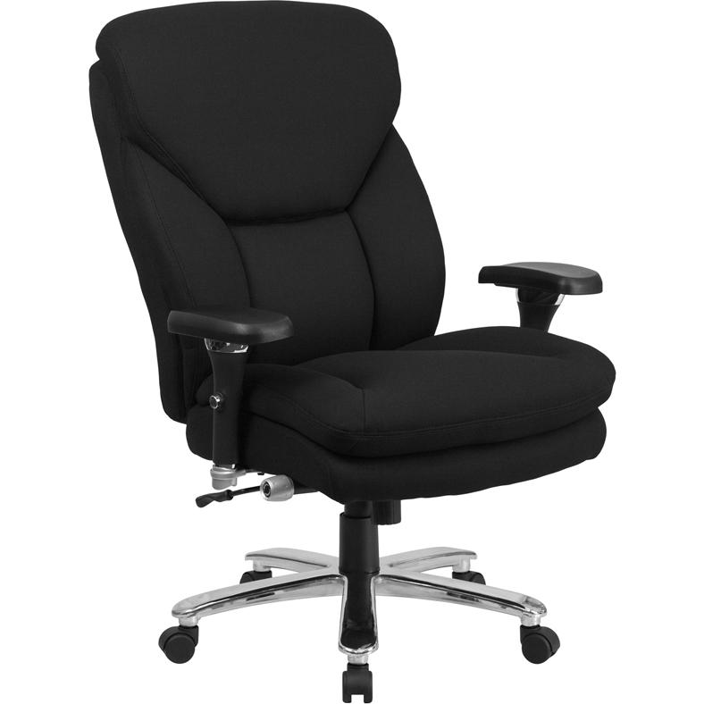 HERCULES Series 24/7 Intensive- Use Big & Tall 400 lb. Rated Black Fabric Executive Ergonomic Office Chair with Lumbar Knob. Picture 1