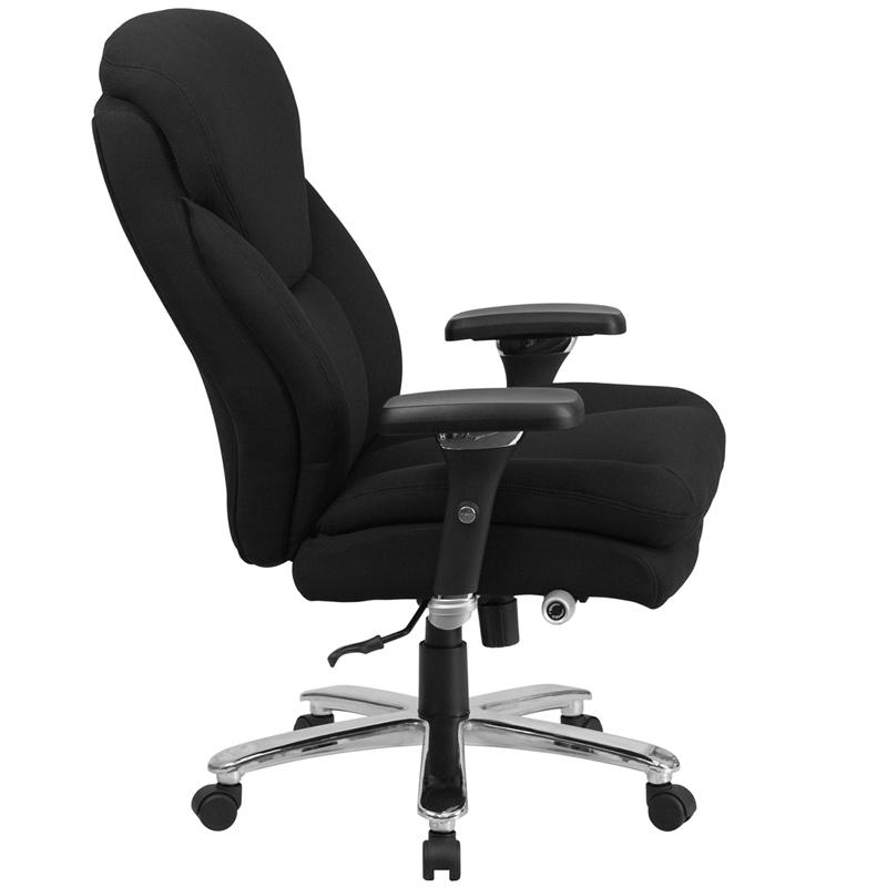 HERCULES Series 24/7 Intensive- Use Big & Tall 400 lb. Rated Black Fabric Executive Ergonomic Office Chair with Lumbar Knob. Picture 2