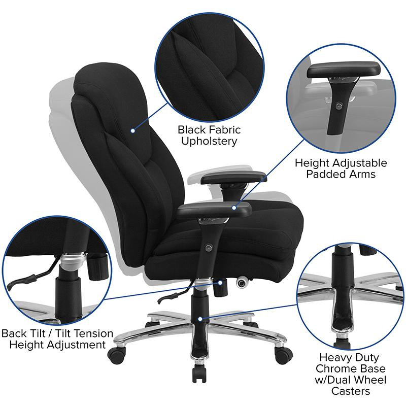HERCULES Series 24/7 Intensive- Use Big & Tall 400 lb. Rated Black Fabric Executive Ergonomic Office Chair with Lumbar Knob. Picture 5