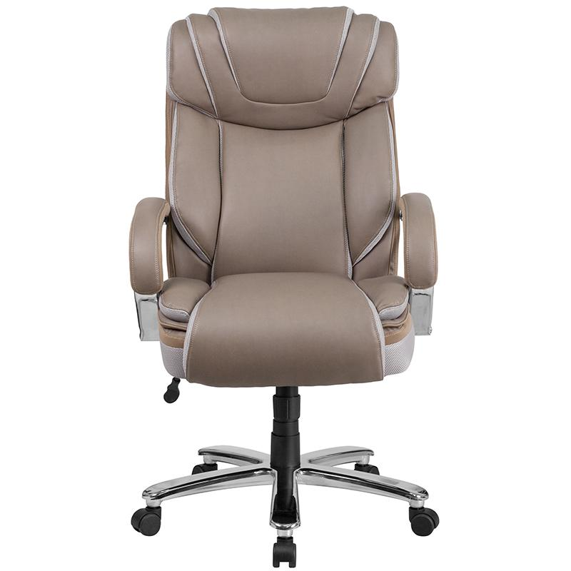 Astounding Big Tall 500 Lb Rated Taupe Leatherergonomic Office Chair Extra Wide Seat Inzonedesignstudio Interior Chair Design Inzonedesignstudiocom