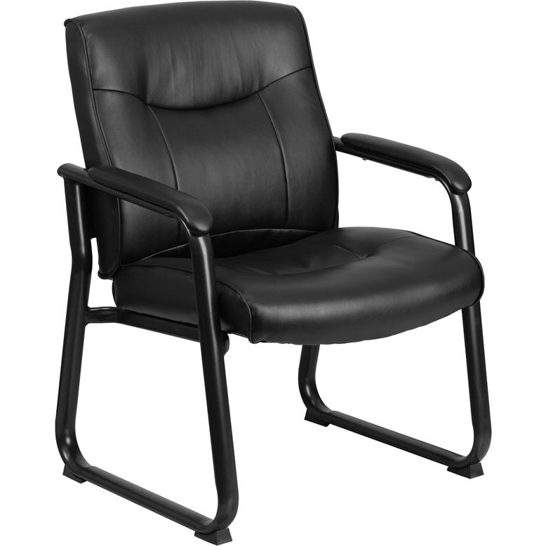 HERCULES Series Big & Tall 500 lb. Rated Black LeatherSoft Executive Side Reception Chair with Sled Base. Picture 1