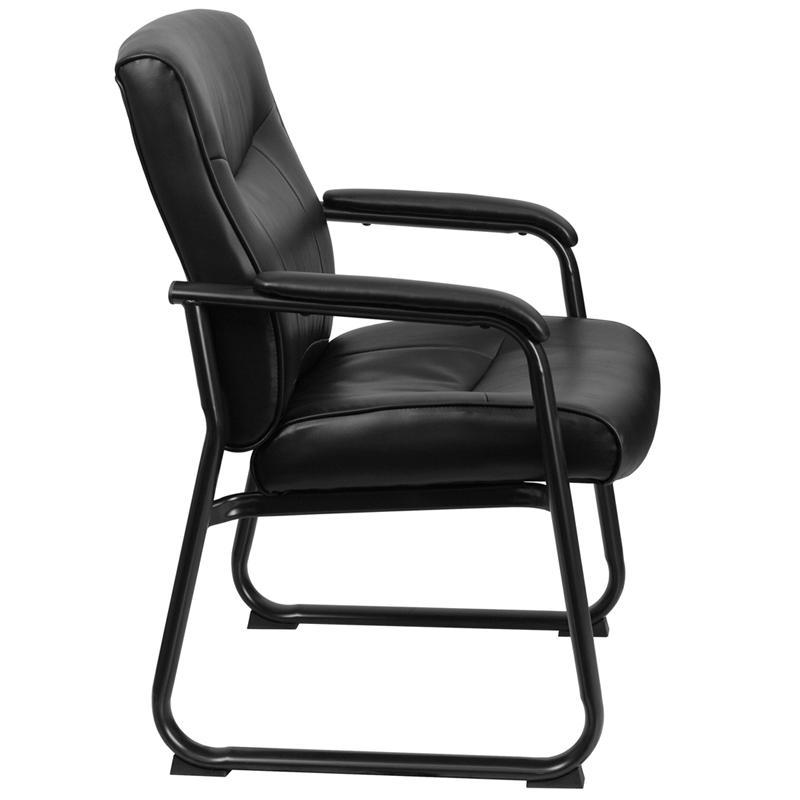 HERCULES Series Big & Tall 500 lb. Rated Black LeatherSoft Executive Side Reception Chair with Sled Base. Picture 2