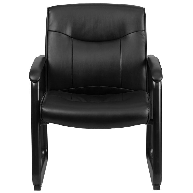 HERCULES Series Big & Tall 500 lb. Rated Black LeatherSoft Executive Side Reception Chair with Sled Base. Picture 4