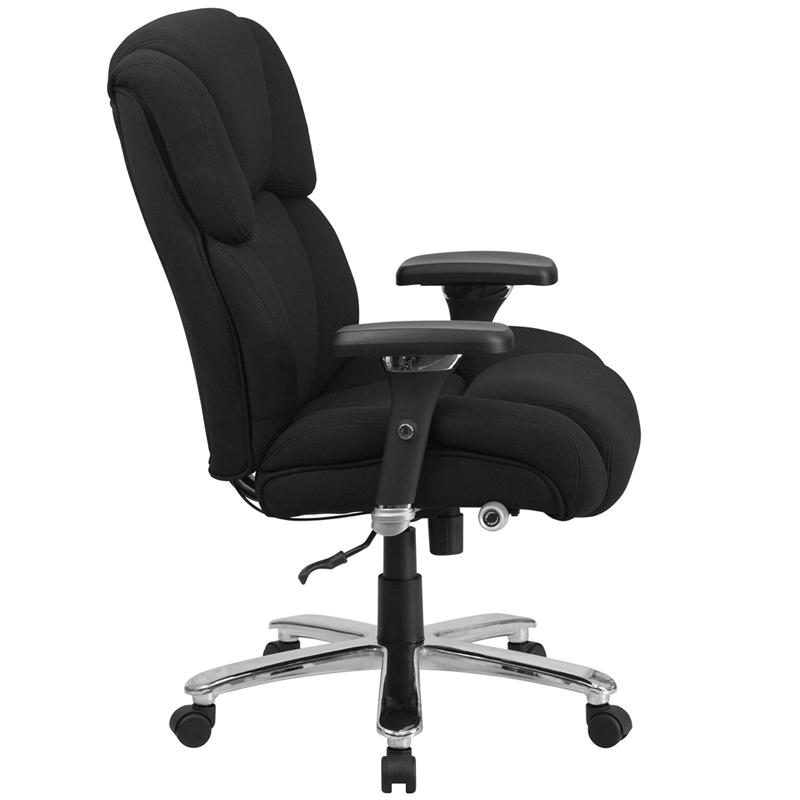 HERCULES Series 24/7 Intensive Use Big & Tall 400 lb. Rated Black Fabric Executive Ergonomic Office Chair with Lumbar Knob. Picture 2