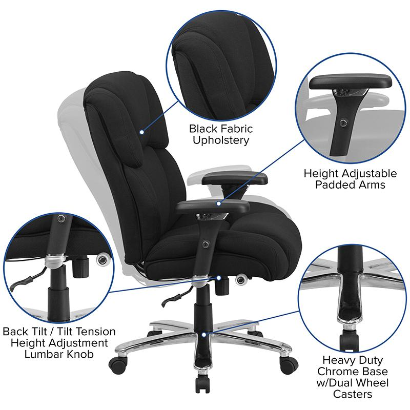 HERCULES Series 24/7 Intensive Use Big & Tall 400 lb. Rated Black Fabric Executive Ergonomic Office Chair with Lumbar Knob. Picture 5