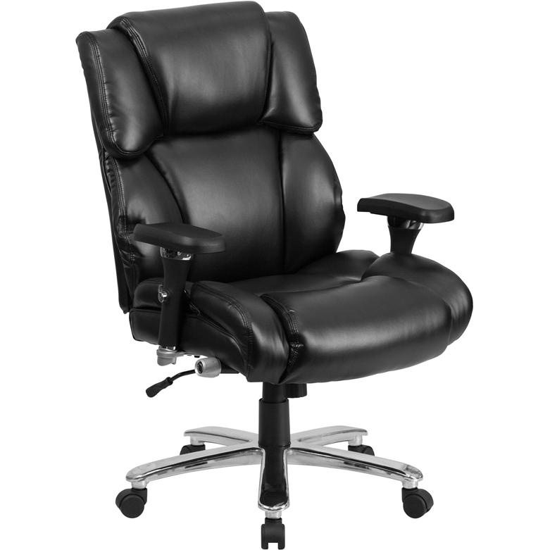 big tall 400 lb capacity black leather executive swivel chair with