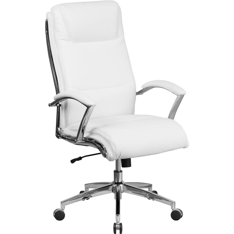 high back designer white leather executive swivel chair with chrome