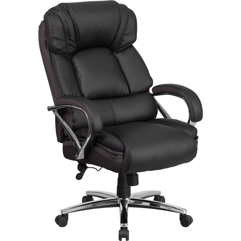HERCULES Series Big Tall 500 Lb Rated Black Leather Executive Swivel C