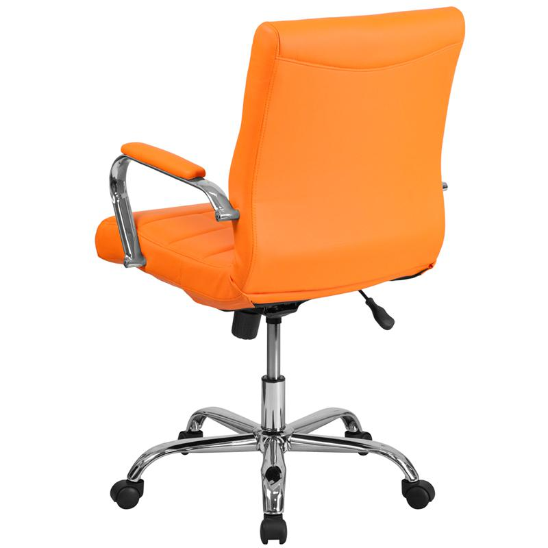 Excellent Mid Back Orange Vinyl Executive Swivel Office Chair With Chrome Base And Arms Ncnpc Chair Design For Home Ncnpcorg