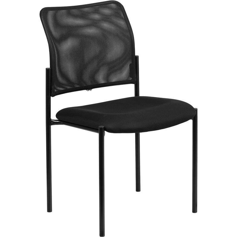 Comfort Black Mesh Stackable Steel Side Chair. Picture 1