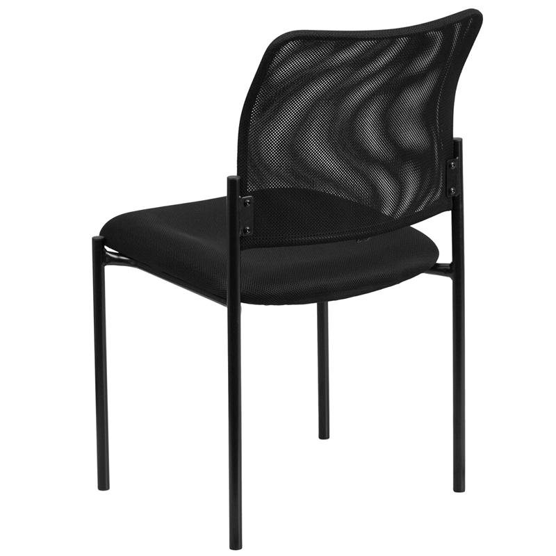 Comfort Black Mesh Stackable Steel Side Chair. Picture 3