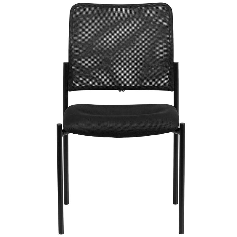 Comfort Black Mesh Stackable Steel Side Chair. Picture 4