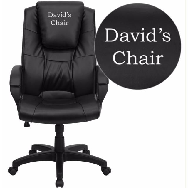 Dreamweaver Personalized Black Leather Executive Swivel Office Chair with Arms. Picture 1