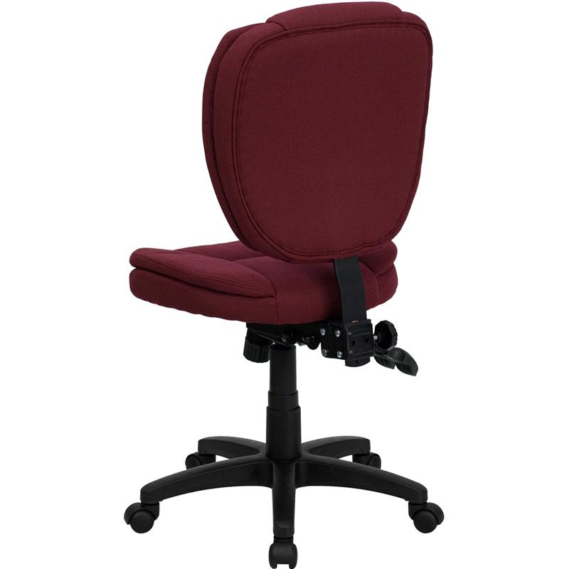 Mid Back Burgundy Fabric Multifunction Ergonomic Swivel Task Chair