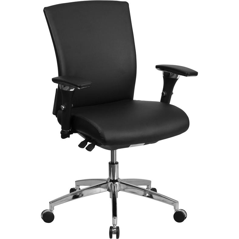 HERCULES Series 24/7 Intensive Use 300 lb. Rated Black- LeatherSoft Multifunction Ergonomic Office Chair with Seat Slider. Picture 1