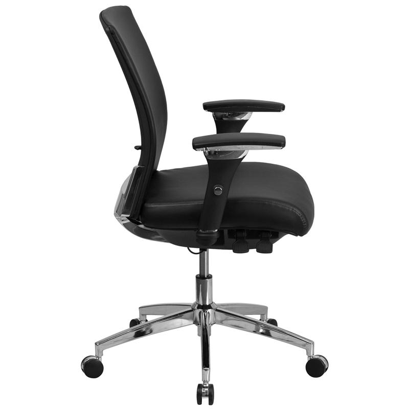 HERCULES Series 24/7 Intensive Use 300 lb. Rated Black- LeatherSoft Multifunction Ergonomic Office Chair with Seat Slider. Picture 2