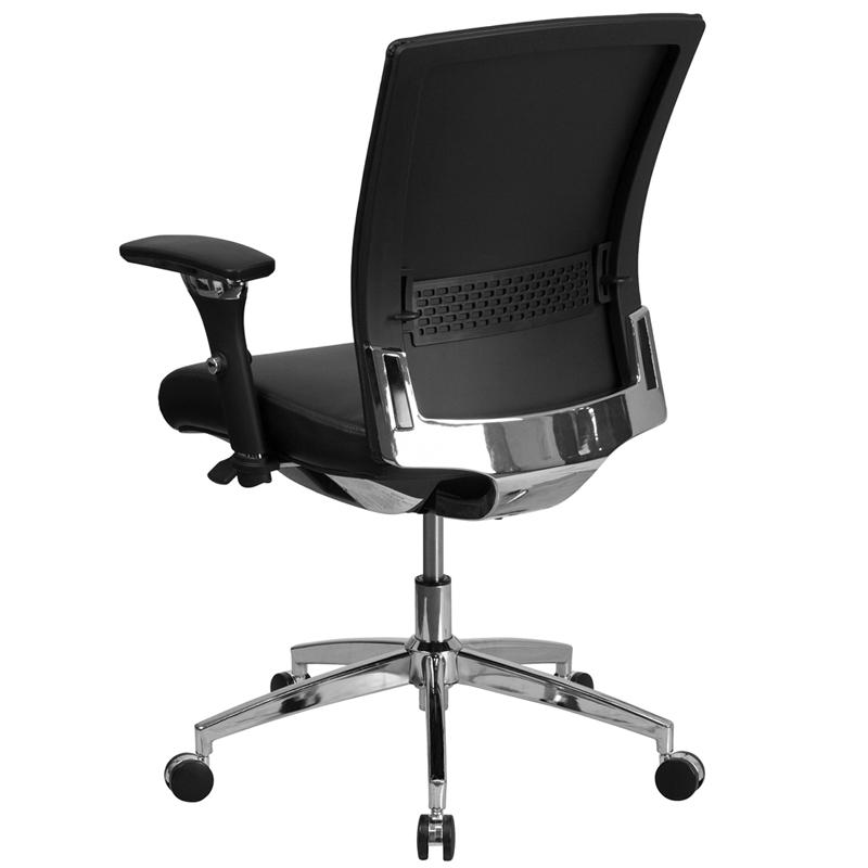 HERCULES Series 24/7 Intensive Use 300 lb. Rated Black- LeatherSoft Multifunction Ergonomic Office Chair with Seat Slider. Picture 3