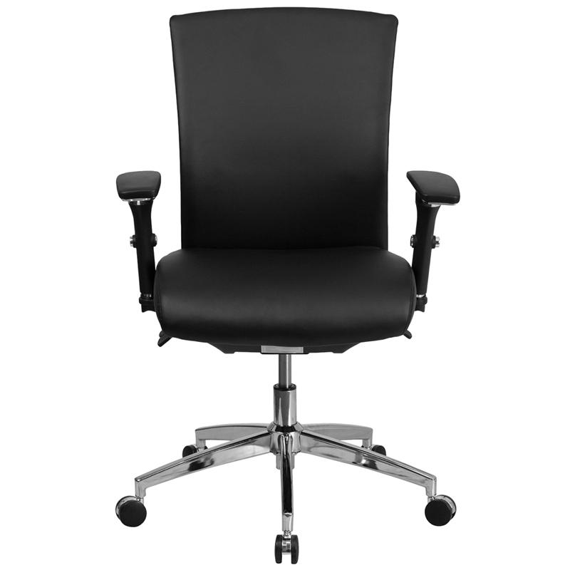 HERCULES Series 24/7 Intensive Use 300 lb. Rated Black- LeatherSoft Multifunction Ergonomic Office Chair with Seat Slider. Picture 4