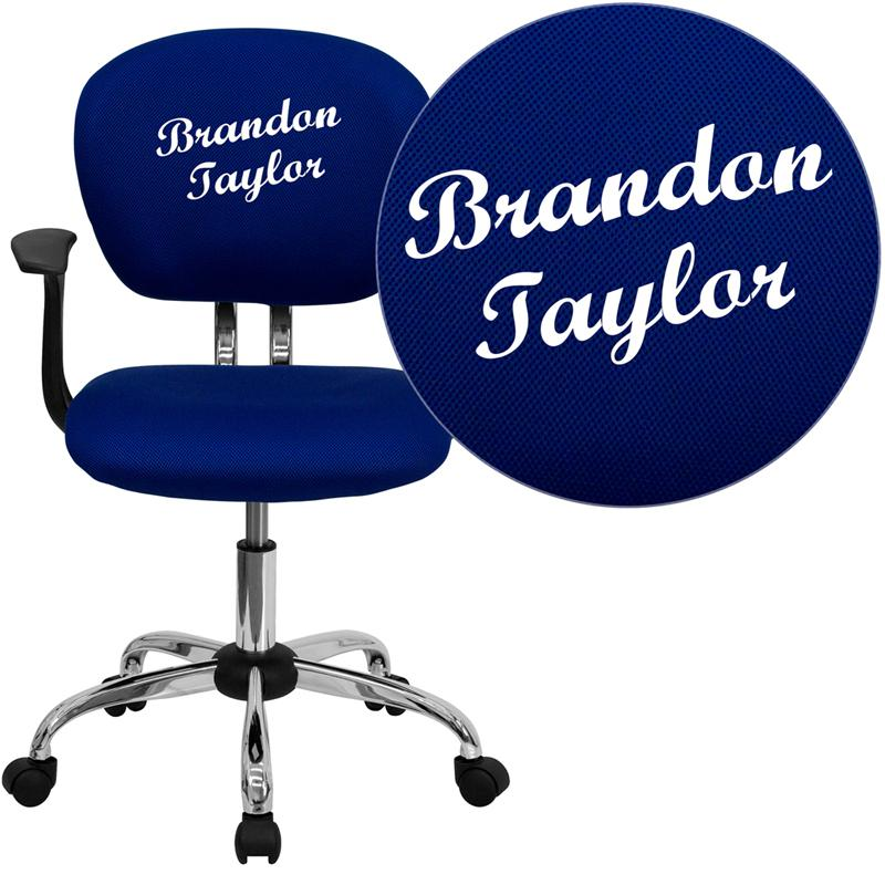 Personalized Mid-Back Blue Mesh Swivel Task Office Chair with Chrome Base and Arms. Picture 1