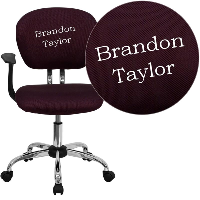 Personalized Mid-Back Burgundy Mesh Swivel Task Office Chair with Chrome Base and Arms. Picture 1