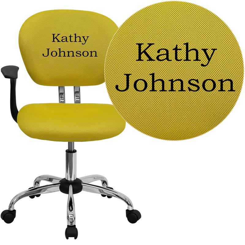 Personalized Mid-Back Yellow Mesh Swivel Task Office Chair with Chrome Base and Arms. Picture 1