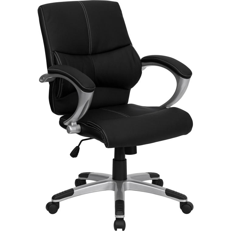 Mid-Back Black LeatherSoft Contemporary Swivel Manager's Office Chair with Arms. Picture 1