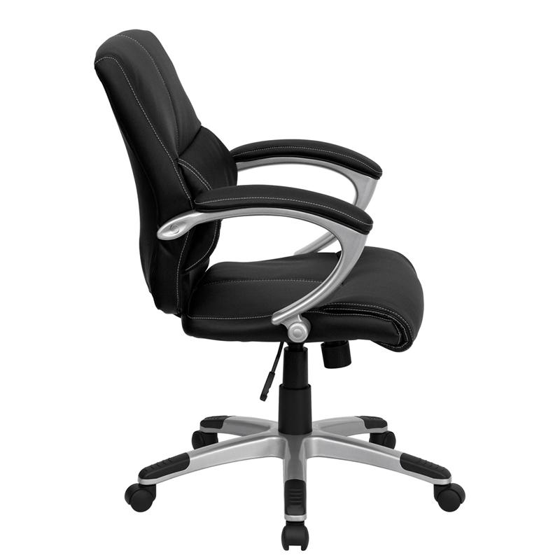 Mid-Back Black LeatherSoft Contemporary Swivel Manager's Office Chair with Arms. Picture 2