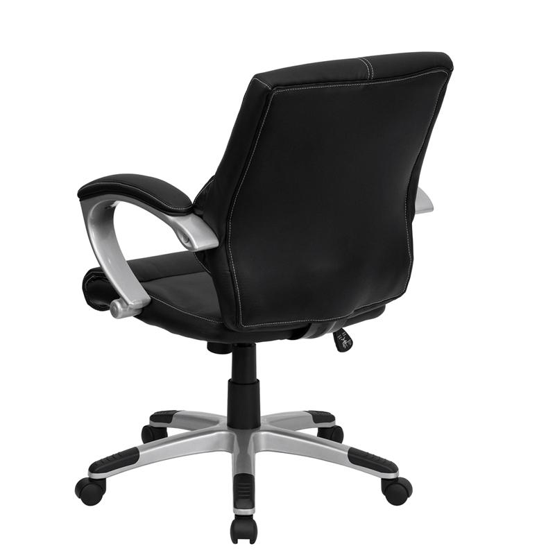 Mid-Back Black LeatherSoft Contemporary Swivel Manager's Office Chair with Arms. Picture 3