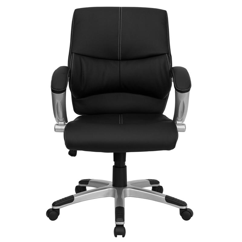 Mid-Back Black LeatherSoft Contemporary Swivel Manager's Office Chair with Arms. Picture 4