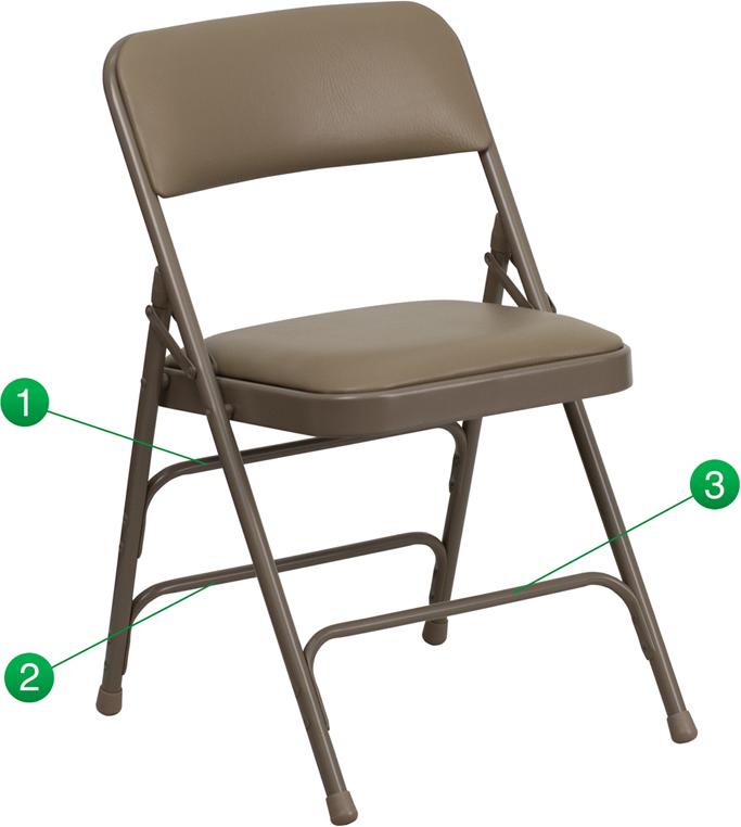 HERCULES Series Curved Triple Braced U0026 Double Hinged Beige Vinyl Fabric  Metal Folding Chair