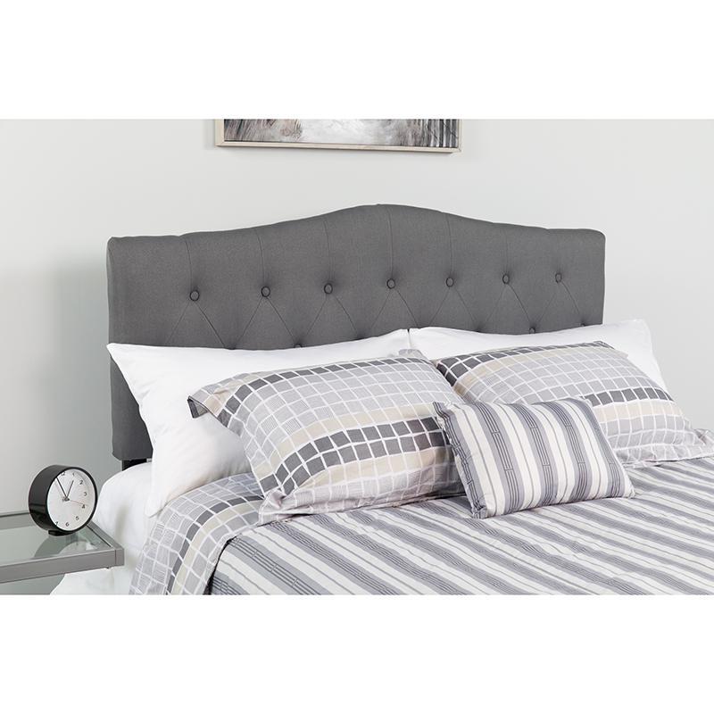 Cambridge Tufted Upholstered Full Size Headboard In Dark Gray