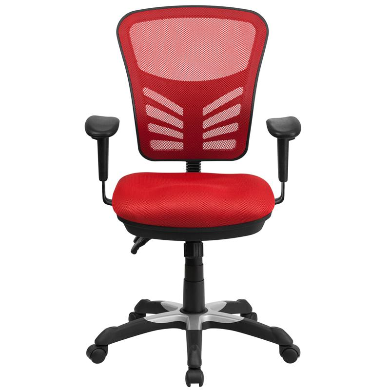 Red Mesh Executive Swivel Ergonomic Office Chair With